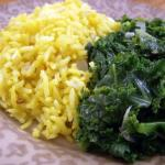 Mongolian Garlic Rice with Braised Kale