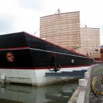 The replica of Admiral Zheng He's ship in front of the Chinese temple of Gang Lombok, Semarang. Admiral He came from China to visit Semarang in the 15th century