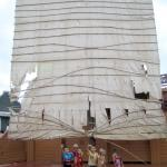 When I climbed onto the deck of the giant ship replica, the local children playing on board immediately posed in front of the sail and asked to be photographed