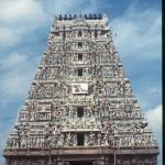 Two of the gopurams at Sri Ekambaresvara temple.  Kanchipuram, India.