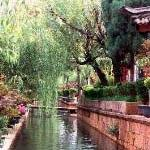 A quiet canal in Lijiang Old Town. Lijiang, Yunnan, China.