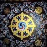 "Rumtek, Sikkim, India: A ""Wheel of Life"" mandala adorns the entrance  to Rumtek Monastery."