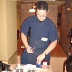 The waiter preparing the sake. Fugu restaurant, Shimbashi