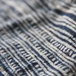 Indigo batik on hemp. Simple batik designs enhance hemp's distinctive rough texture.
