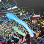 Fans release balloons at a baseball game in Osaka.