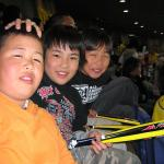 Young fans at a ball game in Osaka.