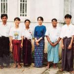 Iqbal in his younger days, standing to Daw Aung San Suu Kyi's immediate left