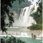 View on the Huangguoshu waterfall from a distance (Guizhou province)