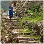 Farmer woman walking the old stone stairs (Guizhou province)