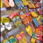 Hand painted wooden shoes, Chinatown, Melaka, Malaysia.