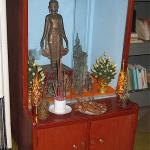A Buddhist shrine in the former Kaysone home in Laos.