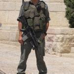 Armed soldier on the Mount of Olives in Jerusalem