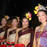 Lovely women in traditional costume served our Loy Krathong dinner.