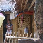 Imi and Joanna outside their tiny Boracay home