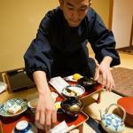 Novice Monk Serving shojin ryori or vegetarian temple cuisine