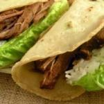 Spicy Pulled-Beef with Scallion Pancake Wraps