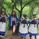 Dancing with Naxi ladies in Yunnan province.