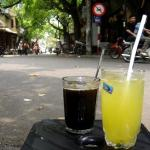 Black Coffee and Lemon juice at Nang cafe, Hanoi Vietnam
