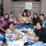 Filipino maids in outside the Hong Kong Law Courts Building.