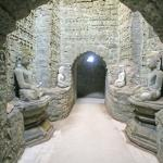 Inside one of Mrauk U's temples