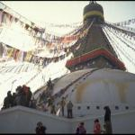 Pilgrims perform a kora, or ritual circumambulation, around the Great Stupa at Boudhnath, spiritual and commercial center of the Tibetan community in Kathmandu, Nepal