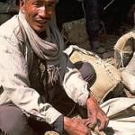 Salt trader checking one of his 9 kg. saddlebags, which are filled with salt and carried by goats from the Tibetan salt bazaars into Nepal's middle hills. Yangkar, Nepal.