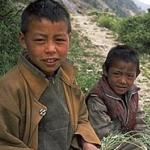 Two Thakuri children on their way to school, near Muchu, Nepal.