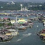 An overview of Kampung Ayer (water village) where houses sit on wooden stilts in Brunei.