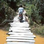 Crossing a very scary bridge on the way to Banteay Thom, Siem Reap, Cambodia.
