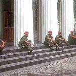 Tense times: army commandos installed at the Arts Museum, Kota district, Jakarta.