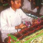 Musician in the traditional Gamelan orchestra playing at the bride's home