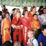 Ban Chang, Thailand: Students from all over the world dress up in traditional Thai costumes to celebrate Loy Kratong.
