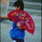 """Morning tai chi sin (""""fan dance"""") practice in Macau."""