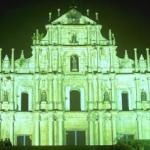 Macau: Ruins of St. Paul's Cathedral by night.