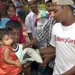Mercy Corps, handing out toys in Sri Lanka.