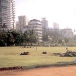 Bombay, India. High-rises of the high-end Bombay residential district of Malabar Hill tower over Pridyarshini Park, a prized respite from the city's commotion, and a great place to gaze longingly at the Arabian Sea.