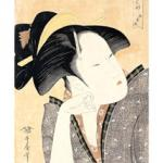 This handout picture shows a Japanese print by Utamaro Kitagawa (1753-1806) 'pensive love', part of French Hugette Beres' collection of Japanese prints, drawings and books. Beres' collection, estimated to five million-euro was auctioned 27 November 2002 at Sotheby's Paris.