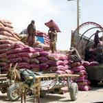 Pakistani labours load trucks with sacks of flours to export to Afghanistan in Chaman. A new gate named Gate of Friendship, a new border post linking south-west Pakistan with south-east Afghanistan was founded 300 meters further away towards Afghanistan than the previous one. The Pakistani authorities said they only returned to the Durand Line border abandonned after the Soviet invasion of Afghanistan, but the Afghan population claim it has been build inside Afghanistan.
