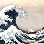 Detail of a Japanese print by Hokusai Katsushika (1760-1849) 'Mount Fuji, wave', part of French Hugette Beres' collection of Japanese prints, drawings and books.