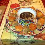Shrimp & Water Chestnut Croquettes and Pork Dumplings with Hoisin Dipping Sauce