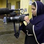 Afghan woman, Mehrya, is one of 13 trained by the French non-governmental organization Aina (mirror) as a camerawoman.
