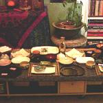 All the empty serving dishes arranged and ready to receive the meal.