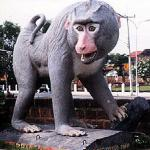 "The train passes a giant statue of a monkey in Lopburi, ""city of monkeys""."