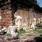 Exterior wall of an old palace in Ayutthaya. Note the beautiful statues carved onto the walls. These statues are in dire need of restoration, many are already showing signs of severe damage.