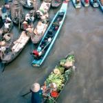 Boats loaded with fruits and vegetables move towards the river bank at Phung Hiep in Can Tho Province. Farmers and traders come from all over the Mekong to trade and sell their goods at this market town where seven canals converge.