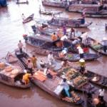 The buying and selling never stops at a floating market in Can Tho.