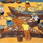 "Tran Tuyet-Mai, Fishing Boats, 1984, woodblock, 20 1/4"" x 14 3/4"""