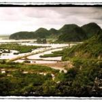 The limestone ridges of Cat Ba rise dramatically from the sea.
