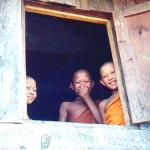 Young monks crowd around the window to glimpse the funny foreign tourist.