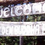 A hand-made sign greets visitors to the island.